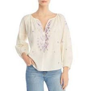 Velvet By Graham And Spencer Puff Sleeves Peasant Top
